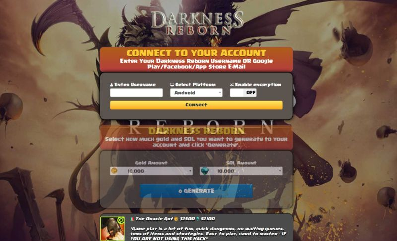 Darkness Reborn hack 2019