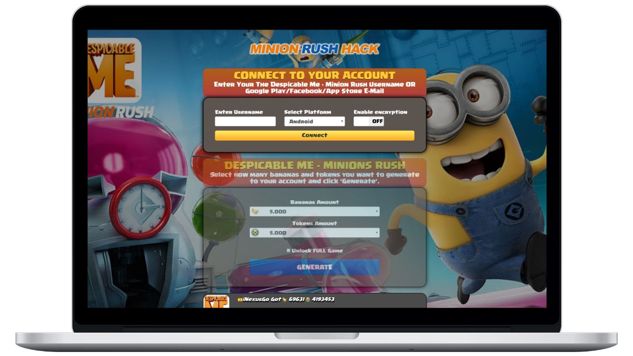 Despicable Me hack bananas generator
