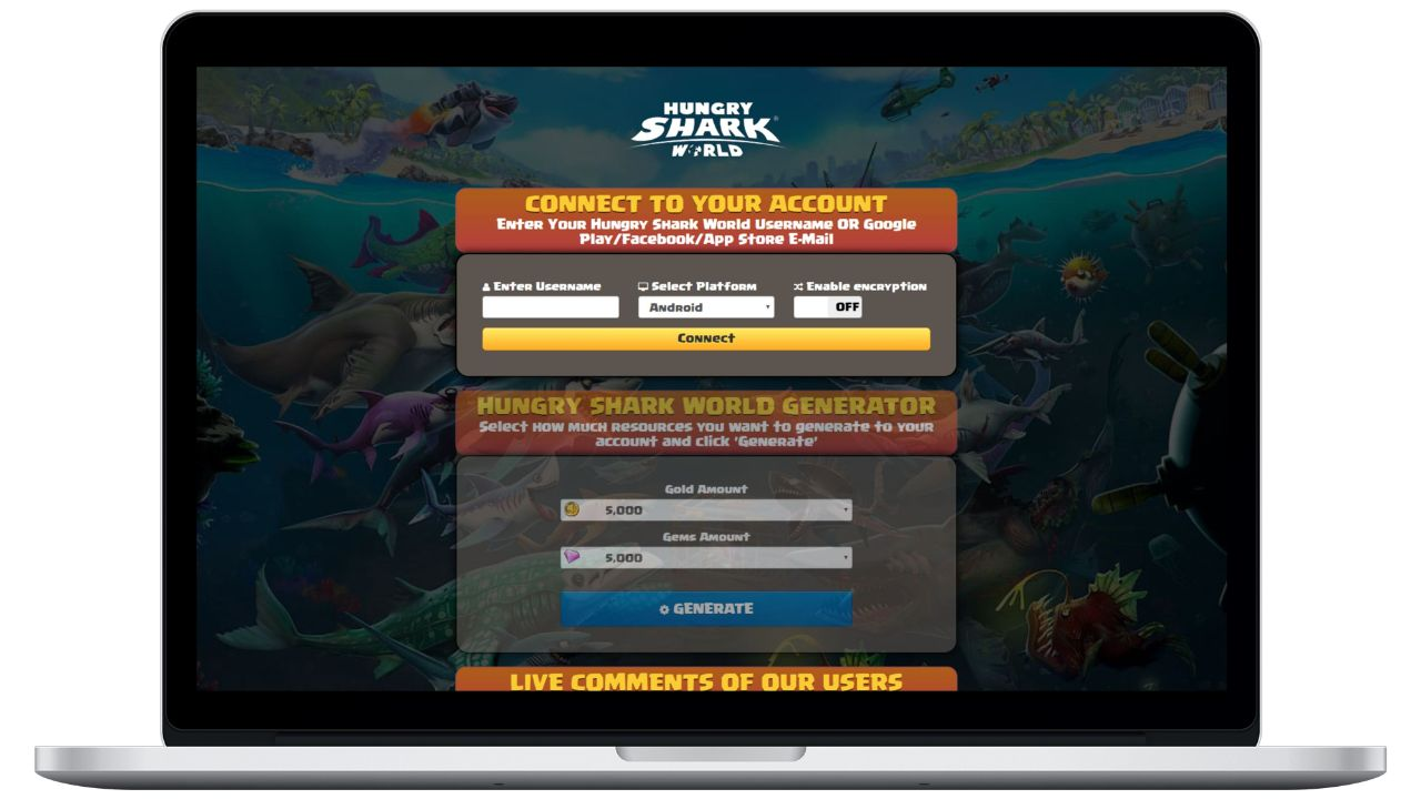 Hungry Shark World hack gold generator