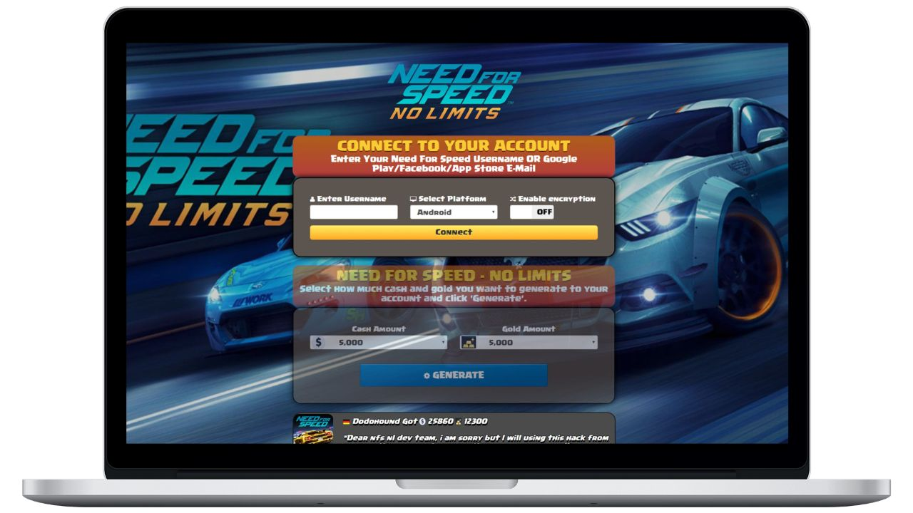 Need For Speed No Limits hack cash generator